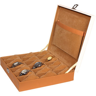 Leather World Tan Quality PU Leather Watch Box Case for 18 Watches