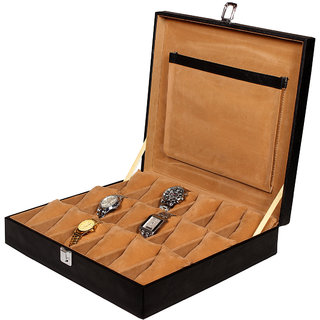 Leather World Black PU Leather Watch Box Case for 18 Watches