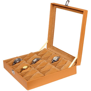 Leather World Tan PU Leather Watch Box Case for 18 Watches