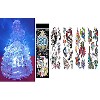 Combo of Beautiful Crystal With Light Flashing and New Fashion Tatoo Book