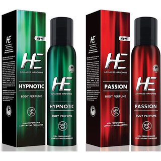 He Hypnotic and Passion dedorants Of 122ml each For Men