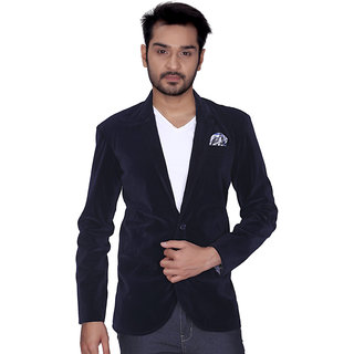 Kandy Navy Blue Velvet Blazer