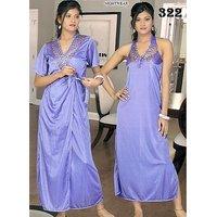 4a6bb0176e Galaxy Night Wear 2pc Nighty Over Coat Sexy 322 Light Purple Sleep Wear Set  for Women Babydoll Slip Gown Robe Set Gurlz