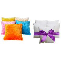 Combo Pack Of 5 Multi Color Furr Cushion Cover & Filler 16x16 Inch