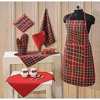 Combo Pack Of Apron, Napkin, Handkerchief, Pot Holder, Gloves - 5 Pcs Set