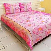 Carah Plain Double Bedsheet(1 Bedsheet, 2 Pillow Covers, Pink)