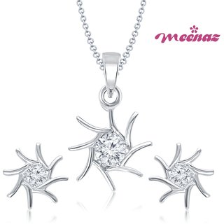 MEENAZ SHINNING STAR RHODIUM PLATED SOLITAIRE PENDENT SET PT116