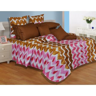 Salona Bichona Superb Brown Double Bedsheet With Two Pillow Covers