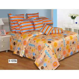 Salona Bichona Modish Orange Double Bedsheet With Two Pillow Covers