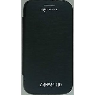 flip cover micromax a116 canvas hd black available at ShopClues for Rs.148