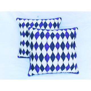 Rib Cushion Cover blue and white(2 pcs set)