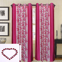 Combo Pack Of 2 Kolaweri Curtain With 2 Curtain Holder - Pink