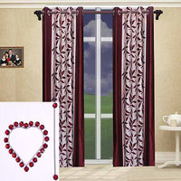 Combo Pack Of 2 Kolaweri Curtain With 2 Curtain Holder - Maroon