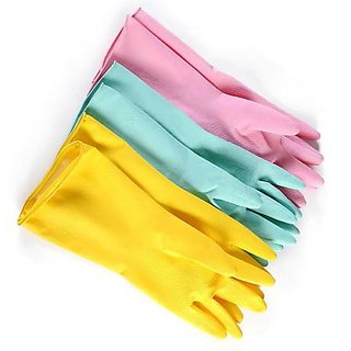 HAND GLOVES 3X 1.PINK,1.YELLOW,1.BLUE HOUSEHOLD PROTECTOR HAND GLOVES WASHING CL