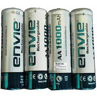 Envie AA 1000 MAh 4 Pc Rechargeable Battery Set Batteries Chargable Ni-Cd
