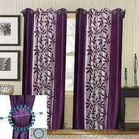 Combo Pack Of 2 Kolaweri Curtain With 2 Curtain Holder - Purple
