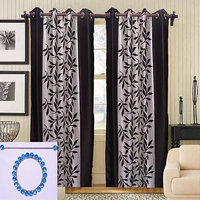 Combo Pack Of 2 Kolaweri Curtain With 2 Curtain Holder - Coffee