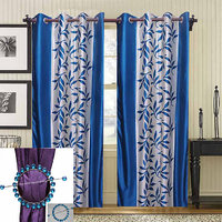 Combo Pack Of 2 Kolaweri Curtain With 2 Curtain Holder - Blue