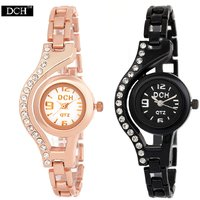 DCH WC-14 Black RoseGold Studded Case Bracelet Chain Analogue Wrist Watches For Women by miss