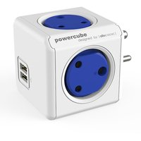Tukzer PREMIUM POWERCUBE 4 WAY + 2 USB PORTS SPIKE GUARD / SURGE PROTECTOR WHITE-BLUE