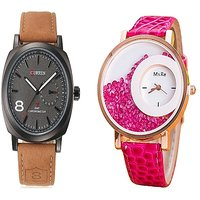 Curren Black Dail and Mxre Pink Women Couple Watches for Men and Women by miss