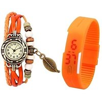 orange leather and led combo watch special offer by miss