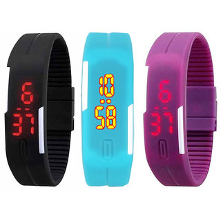 Combo of LED Watches-Black Sky Blue And Purple Color by miss