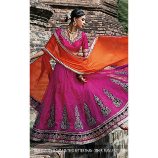 Pink Color Net With Embroidery Work Semi-Stitched Lehenga Choli