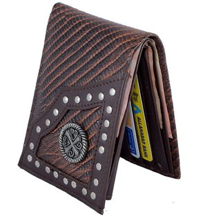 Holboro Mens Genuine Leather Western Style Lizard Embossed Bifold Wallet With Non-Hazardous Zinc Metal Cross Concho + Free 7 Pcs Twin Blade Disposable Razors