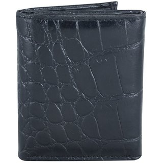 Holboro Mens Crocodile Embossed Genuine Leather Tri-Fold Wallet + Free 7 Pcs Twin Blade Disposable Razors
