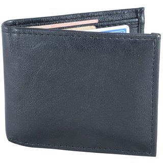 Holboro Mens Faux Leather Bifold Wallet + Free 7 Pcs Twin Blade Disposable Razors