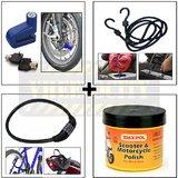 Disc Lock +  4 Digit Lock + Bungee Rope / Cord + Waxpol Motorcycle Wax