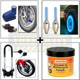 Disc Lock + Front Wheel Lock + Tyre LED + Skull LED + Waxpol Motorcycle Wax