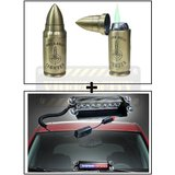 Single Bullet Cigratte Lighter + 8 LEDs Wind Shield Sucker Strobe Warning Flash Red / Blue Light- Police Light 4W