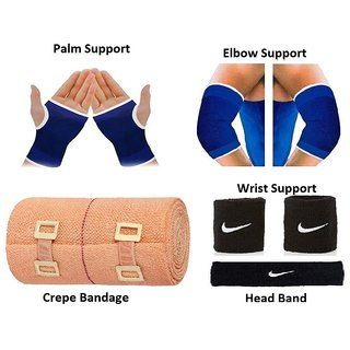 Gym Combo of Palm Support Elbow Support Crepe Bandage Wrist Support Head Band