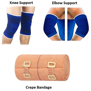 Gym Combo of Knee Support Elbow Support Crepe Bandage