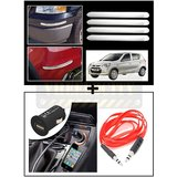 Vheelocity Chrome Car Bumper Safety Guard Protectors + Universal Micro Usb Car Phone Charger With Aux Cable
