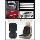 Vheelocity Chrome Car Bumper Safety Guard Protectors + Car Wooden Bead Seat Cushion With Grey Velvet Border
