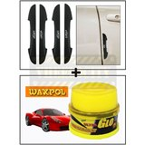 Vheelocity I-Pop New Black Car Door Scratch Guard Protector Pack Of 4 + Waxpol Ultra Glo Polish With Uv Guard 100Gms