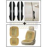 Vheelocity I-Pop New Black Car Door Scratch Guard Protector Pack Of 4 + Car Wooden Bead Seat Cushion With Beige Velvet Border