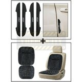 Vheelocity I-Pop New Black Car Door Scratch Guard Protector Pack Of 4 + Car Wooden Bead Seat Cushion With Grey Velvet Border