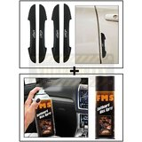 Vheelocity I-Pop New Black Car Door Scratch Guard Protector Pack Of 4 + Fms Car Dashboard Wax Spray