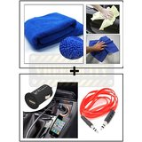 Vheelocity Multi Purpose Microfiber Dry Wet Cleaning Polishing Cloth + Universal Micro Usb Car Phone Charger With Aux Cable