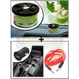 Vheelocity Aromate Organic Car Perfume Air Freshener - Jasmine + Universal Micro Usb Car Phone Charger With Aux Cable