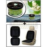 Vheelocity Aromate Organic Car Perfume Air Freshener - Jasmine + Car Wooden Bead Seat Cushion With Black Velvet Border
