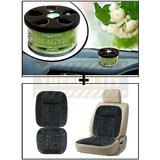 Vheelocity Aromate Organic Car Perfume Air Freshener - Jasmine + Car Wooden Bead Seat Cushion With Grey Velvet Border