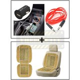 Vheelocity Universal Micro Usb Car Phone Charger With Aux Cable + Car Wooden Bead Seat Cushion With Beige Velvet Border
