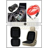 Vheelocity Universal Micro Usb Car Phone Charger With Aux Cable + Car Wooden Bead Seat Cushion With Black Velvet Border