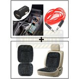 Vheelocity Universal Micro Usb Car Phone Charger With Aux Cable + Car Wooden Bead Seat Cushion With Grey Velvet Border
