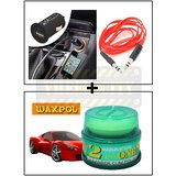 Vheelocity Universal Micro Usb Car Phone Charger With Aux Cable + Waxpol 2 In 1 Cleaner Cum Polish 100G